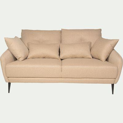 Canapé 2 places fixe en tissu - beige roucas-DOME