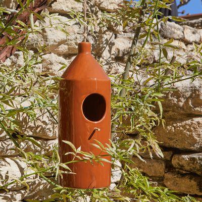 Mangeoire à oiseaux en céramique - marron D11xH30cm-PRISCA