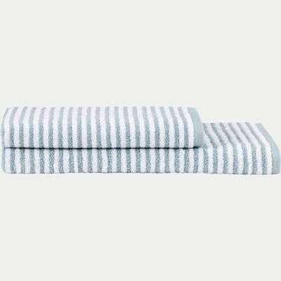 Drap de douche rayé en coton - bleu calaluna 70x140cm-Gary