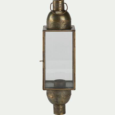 Lanterne en métal L11xl11xH40cm - cuivré-SIKAR