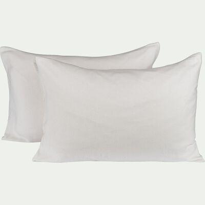 Lot de 2 protège-oreillers en coton recyclé - 50x70cm-CINA