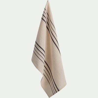 Torchon de cuisine rayé en lin et coton - blanc écru 50x70cm-CALADOU