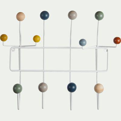 Patère avec 12 crochets en fer et bois - multicolore-Dilun