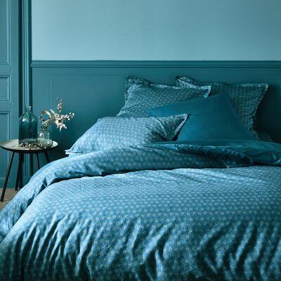 Housse de couette en satin de coton motif Jasmin - bleu 240x220cm-SOUN