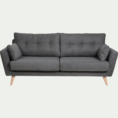 Canapé 3 places fixe en tissu - gris-ICONE