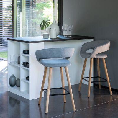 Chaise de bar en tissu avec accoudoirs gris - H65.5cm-JOYAU