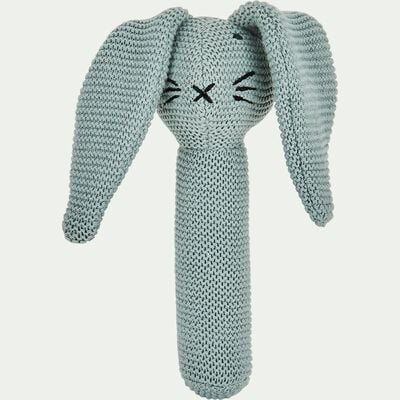 Hochet forme lapin en coton bio - vert-Rafy