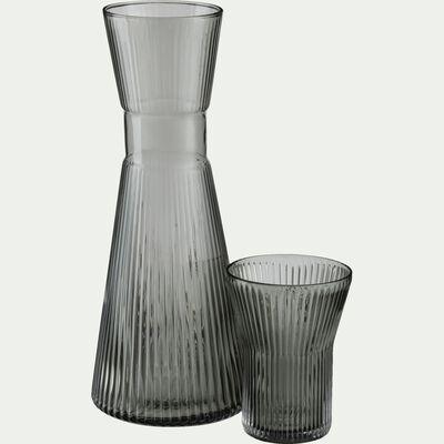 Pichet en verre côtelé - gris 1L-FUMEL