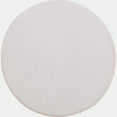 Tapis rond imitation fourrure - blanc ventoux D70cm-ROBIN