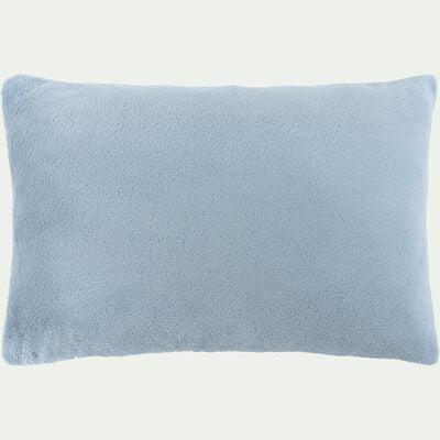 Housse de coussin effet polaire- bleu calaluna 40x60cm-ROBIN