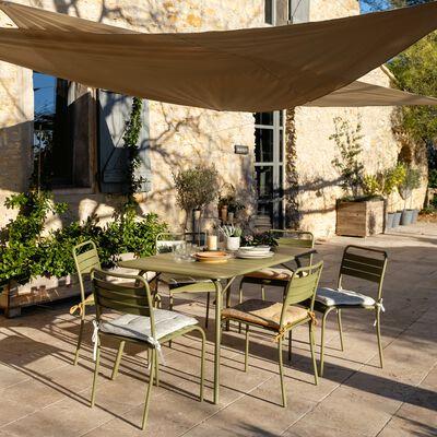 Table de jardin pliante en acier vert kaki (4 à 6 places)-SOURIS