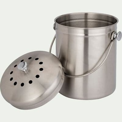 Poubelle à compost en acier - gris 4,5L-CHARRA