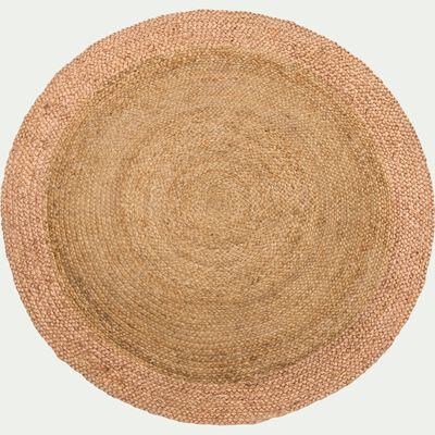 Tapis rond en jute - rose grège D120cm-ANTALYA