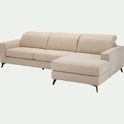 Canapé d'angle droit fixe en tissu - beige roucas-SALVIA