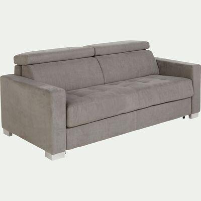 Canapé 3 places fixe microfibre gris accoudoirs 15cm-MAURO