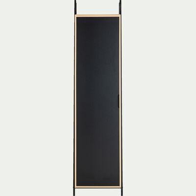Armoire 4 tablettes - noir et bois clair H221XL55cm-HENRY