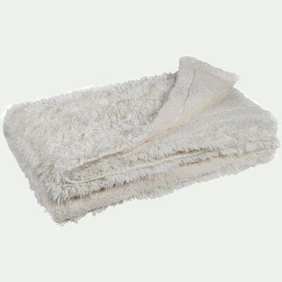 Couvre-lit imitation fourrure en polyester - blanc 180x220cm-ELEC
