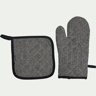 Lot de manique et gant - gris anthracite-Manoufle