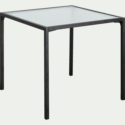 Table de repas carré en verre et acier - 2 à 4 places-VAREI