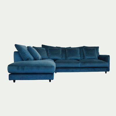 Canapé d'angle gauche fixe en velours - bleu figuerolles-LENITA
