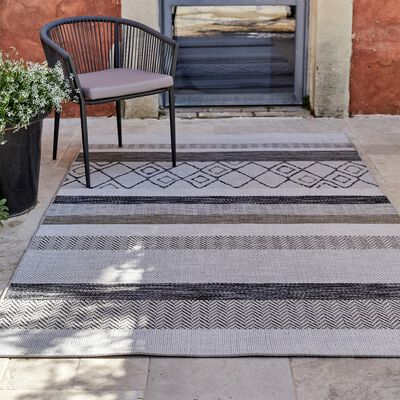 Tapis intérieur et  extérieur à motifs - gris 160x230cm-EUPHORIE