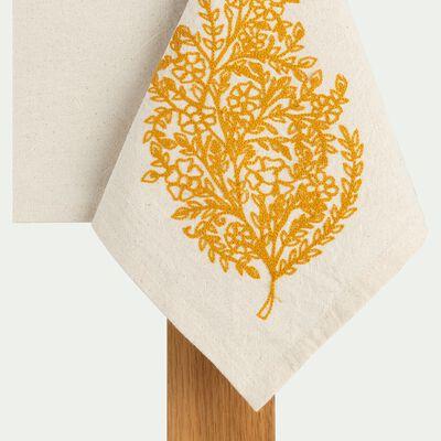 Nappe brodée en coton lavé - blanc 140x250cm-KADHAEE