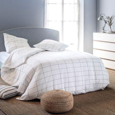 Housse de couette et 1 taie d'oreiller en coton motif carreaux - blanc 140x200cm-CARRELA