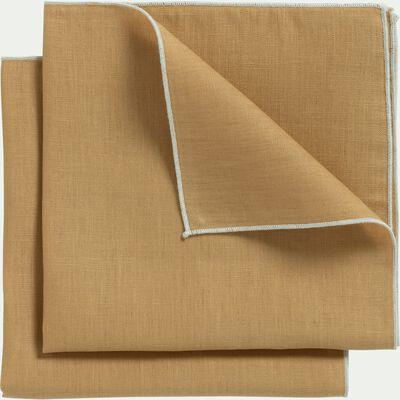 Lot de 2 serviettes de table en lin et coton beige nèfle 41x41cm-MILA