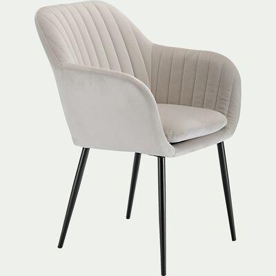Chaise capitonnée en velours avec accoudoirs - beige sable-SHELL