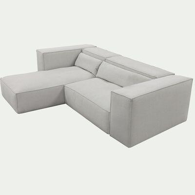 Canapé d'angle 4 places gauche en tissu - beige roucas - L 277cm - largeur 105cm-REVERE
