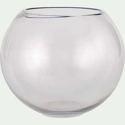 Vase boule en verre épais - transparent D24,5xH21cm-CERS