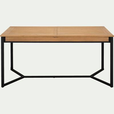 Table de repas extensible en pin massif (4 à 8 places ) - piètement noir-ENDOUME