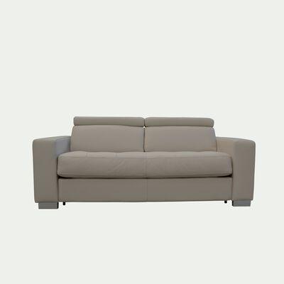Canapé 2 places fixe en cuir avec accoudoir 20cm - beige-MAURO