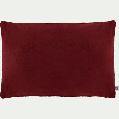 Housse de coussin effet polaire- rouge sumac 40x60cm-ROBIN