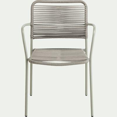 Chaise de jardin empilable avec accoudoirs en aluminium - vert olivier-TALIS
