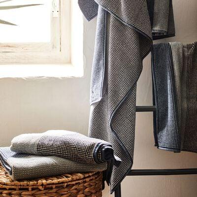 Serviette de toilette bouclette jacquard en coton - bleu 50x100cm-HUGO