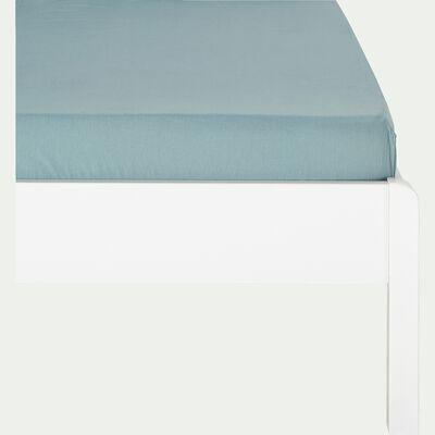Drap housse enfant en coton 90x200+B20cm - bleu calaluna-Calanques