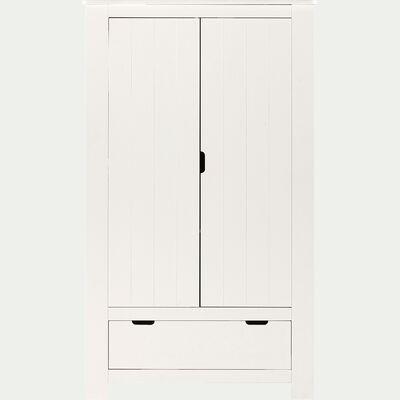 Armoire 2 portes et 1 tiroir en bois chambre enfant - blanc-POLLUX