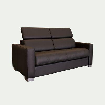 Canapé 2 places convertible en cuir avec accoudoir 15cm - marron-MAURO