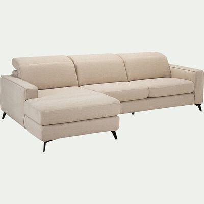Canapé d'angle gauche fixe en tissu - beige roucas-SALVIA