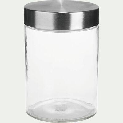 Bocal de rangement en verre avec couvercle en métal 1,2L-BROOKLIN