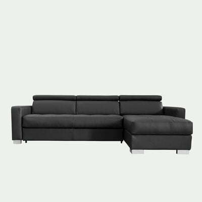 Canapé d'angle réversible fixe en cuir de buffle - noir-MAURO