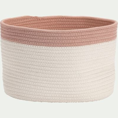 Panier de rangement bicolore - rose L30xl20xH20cm-Louni