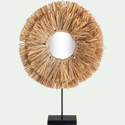 Miroir à poser rond franges en raphia - naturel H41cm-AGRANA