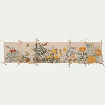 Tour de lit bébé en coton bio avec imprimé - Beige fleuri-Grandes herbes