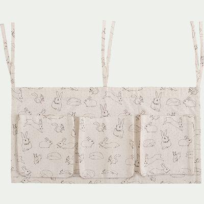 Rangement en coton à suspendre pour lit - blanc écru-Bestiaire
