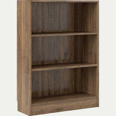 Bibliothèque en bois 3 tablettes - noyer H107xL79cm-BIALA