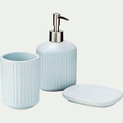 Set de salle de bain rayé en céramique - bleu amandier-NANS