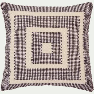 Coussin en laine et coton - écru et noir 45x45cm-YOUSS