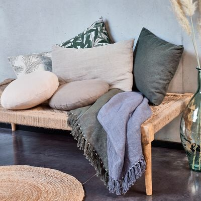 Plaid tissé à franges en coton - gris borie 130x170cm-SEVILLE